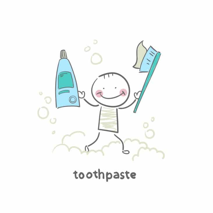 A smiling cartoon child holding a toothbrush and toothpaste